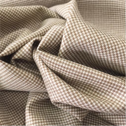 Ткань костюмная шерсть с кашемиром принт Prada горчично-бежевый пье-де-пуль