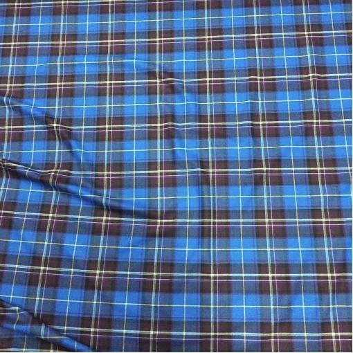 Шерсть плательно-костюмная стрейч принт клетка синего цвета