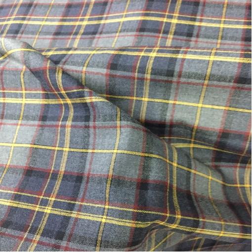 Шерсть плательно-костюмная стрейч горчично-калиновая клетка на сером фоне