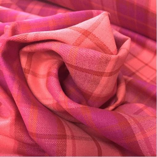 Шерсть плательно-костюмная стрейч принт клетка цвета гренадиновая фуксия