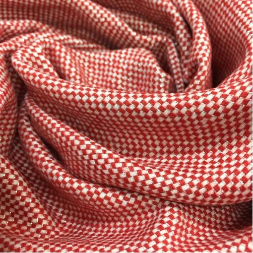 Твид костюмный стрейч дизайн Pinko в красно-бежевую крапинку с люрексом