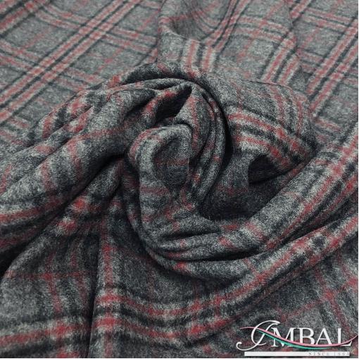 Ткань костюмная шерстяная в клетку серо-красного цвета