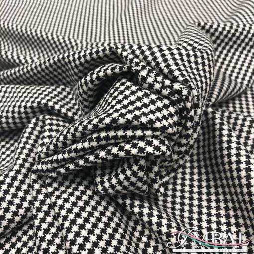 Ткань костюмная шерстяная стрейч мелкий черно-белый пье-де-пуль