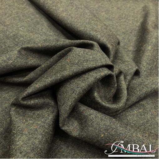 Твид костюмный шерсть с шелком стрейч цвета тёмная олива