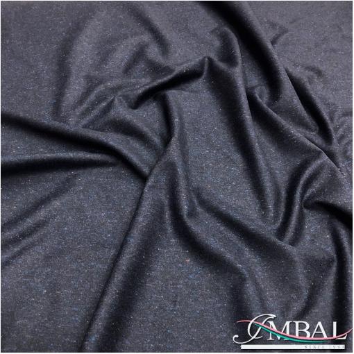 Твид костюмный шерсть с шелком стрейч черно-синего цвета
