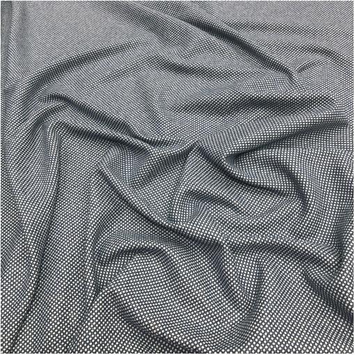 Ткань костюмная двухсторонняя горошек 3 мм в сине-белых тонах