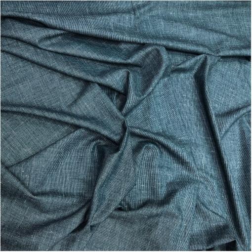 Твид костюмный шерсть с шелком черно-голубые полоски