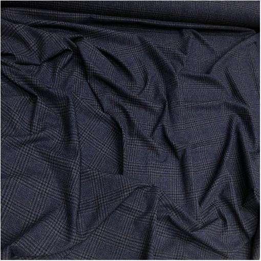 Ткань костюмно-плательная клетка в сине-коричневых тонах