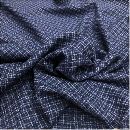 Ткань костюмная мелкая голубая клетка 1см на сизом фоне