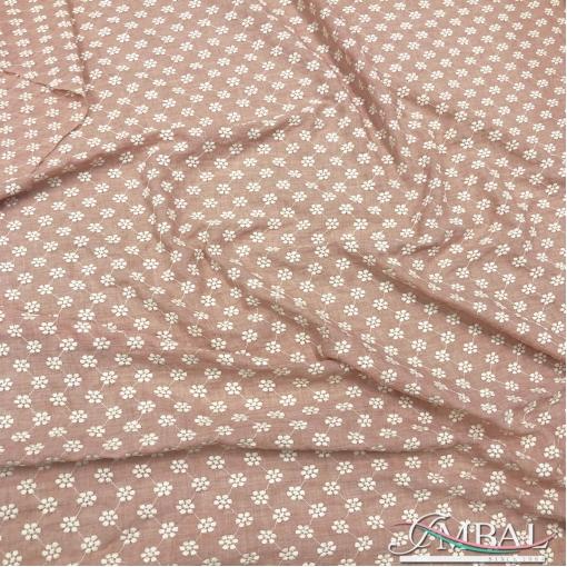 Лен с вискозой мягкий дизайн Blumarine вышитый светло-лососевого цвета