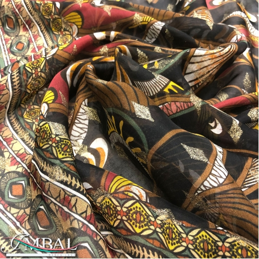 Муслин вискоза с шелком стилизованные цветы с бронзовым люрексом