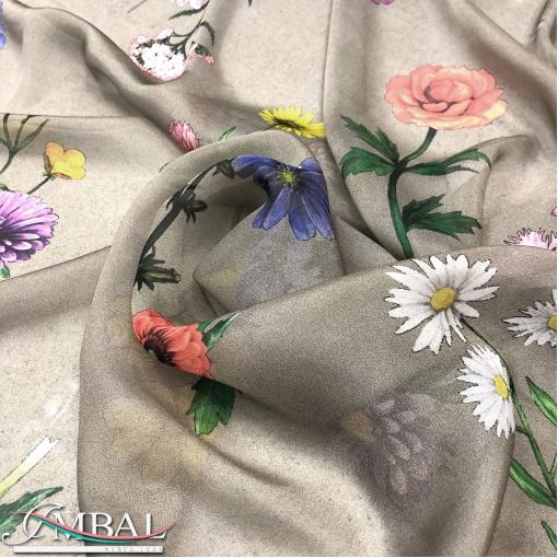 Муслин хлопок с шёлком принт Prada цветы на золотисто-сером фоне