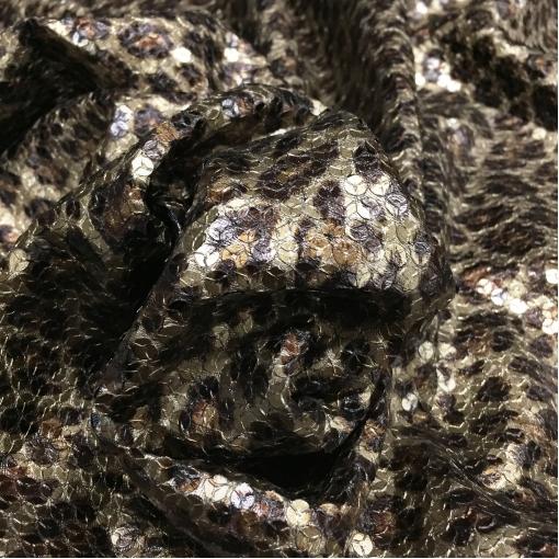 Ткань нарядная стрейч D&G леопард с пайетками
