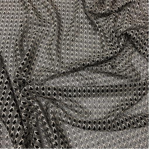 Трикотаж нарядный стрейч Missoni ажурный в жемчужно-черной гамме