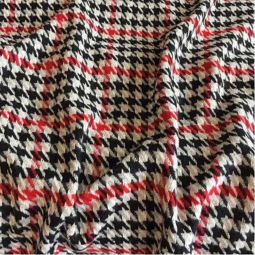 Ткань пальтовая принт Max Mara пье-де-пуль в красно-бело-черной гамме