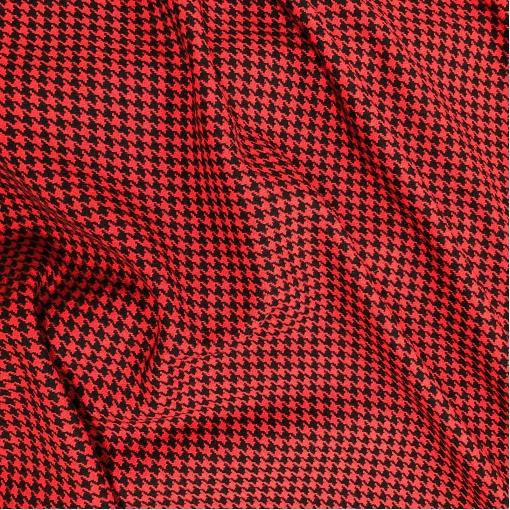 Ткань пальтовая двухсторонняя Chanel пье-де-пуль в красно-черных тонах