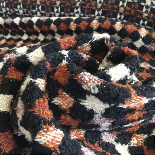 Ткань пальтовая рыхлая дизайн Burberry геометрия с небольшим люрексом