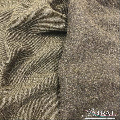 Ткань пальтовая двухсторонняя Armani диагональ в оливково-шоколадной гамме