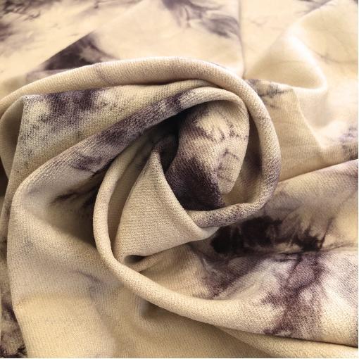 Ткань шерстяная плательная стрейч дизайн Armani с эффектом кракелюра в свекольно-ванильной гамме цвета