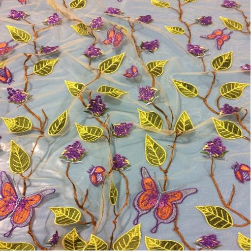 Кружево Blugirl нарядное с пайетками на сетке цветы и бабочки