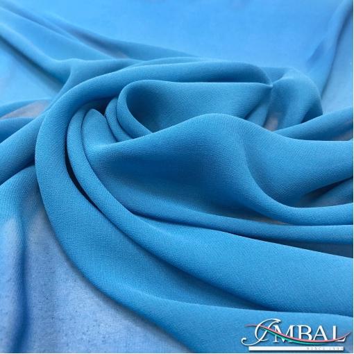 Шелк шифон креповый стрейч сине-голубого цвета
