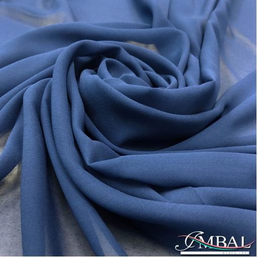 Шелк шифон креповый стрейч приглушённого синего цвета