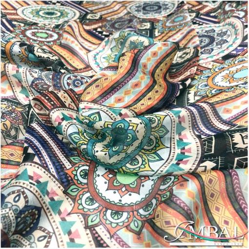 Шелк шифон принт Ratti этнический орнамент на ванильном фоне