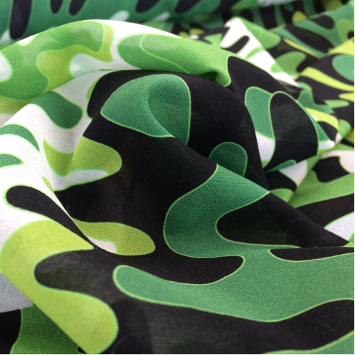 Шелк шифон стрейч принт Pucci в зеленых тонах