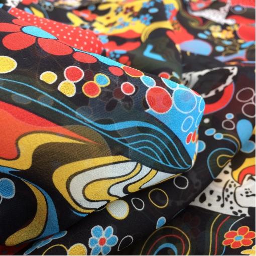 Шелк шифон  принт Pucci абстракция животные, люди, цветы