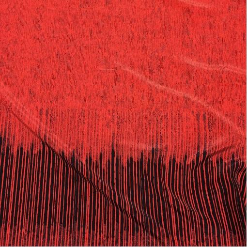 Шелк матовый принт Prada геометрический купон на алом фоне