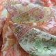 Шелк шифон принт ETRO кораллово-оливковые цветочные полосы