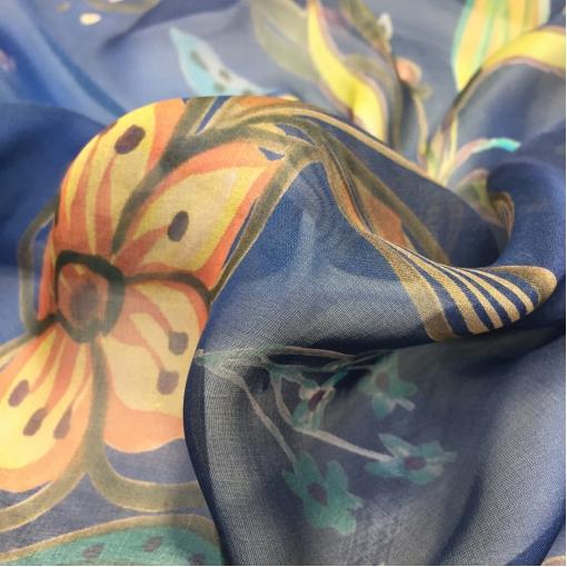 Шелк шифон принт Blumarine узоры и букеты синем фоне