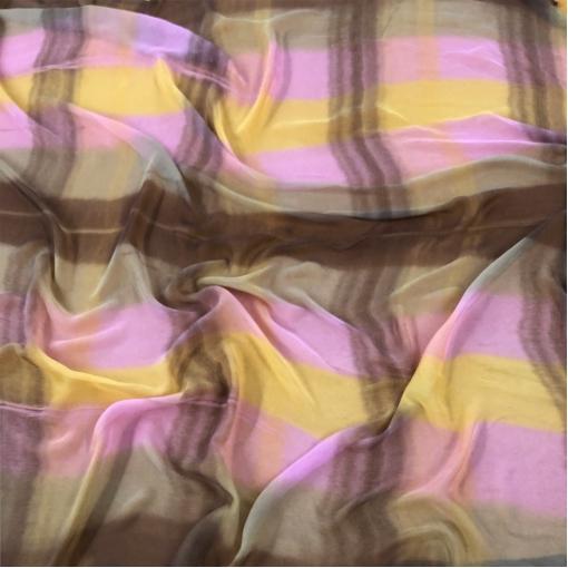 Шелк шифон Prada деграде в шоколадно-розовых тонах
