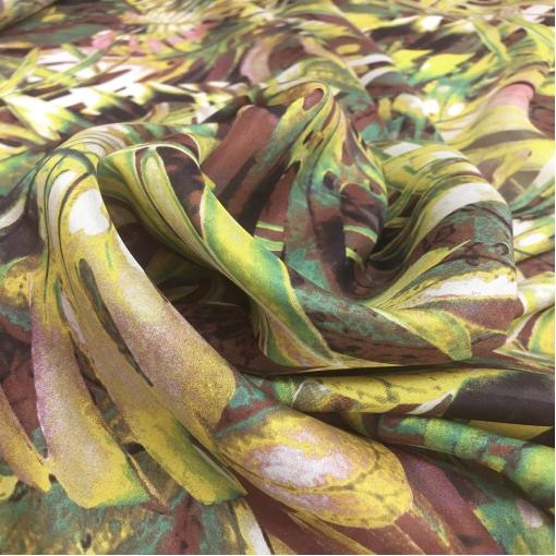 Шелк шифон принт крупные тропические листья