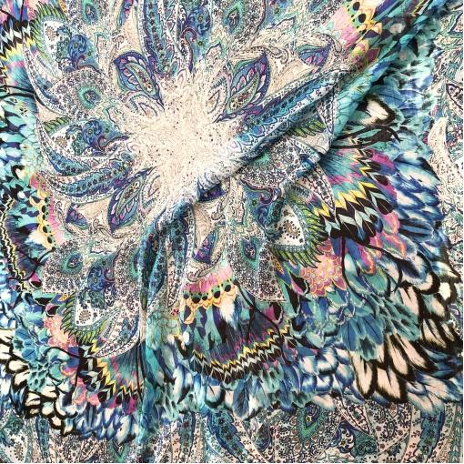 Шелк шифон принт ETRO перья и вензеля в ярко-голубых тонах