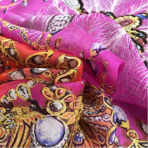 Шелк шифон принт Versace платок драгоценности в красно-малиновых тонах