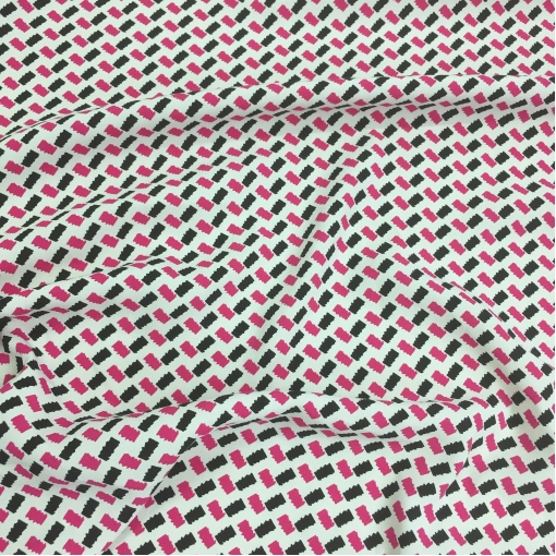 Вискоза креповая плательная принт Prada черные и малиновые ромбики