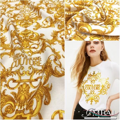 Вискоза плательная принт Versace золотые вензеля на молочном  фоне