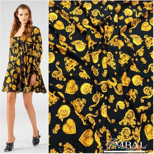 Вискоза плательная принт Versace желтые сердца на черном  фоне