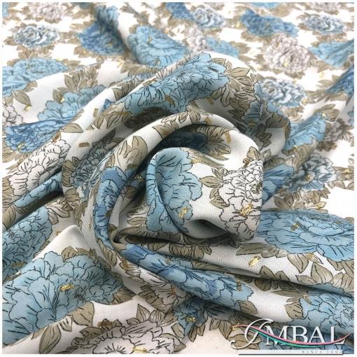 Bискоза нарядная принт Kenzo нежные голубые цветы и люрекс на светлом фоне