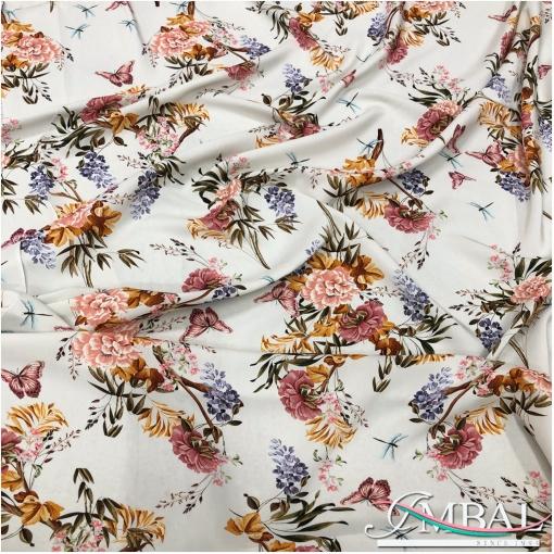 Вискоза купро плательная принт Blumarine букеты с бабочками на ванильном фоне