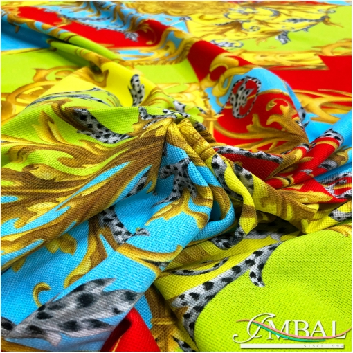 Трикотаж хлопковый стрейч дизайн Versace купон разноцветная геометрия и вензеля