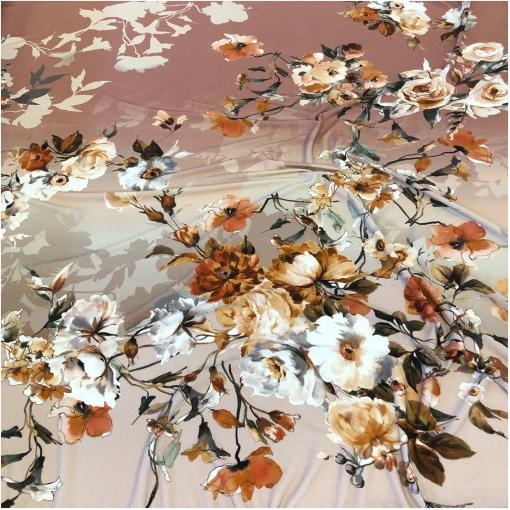 Трикотаж вискозный стрейч дизайн Elisa Fanti цветочные букеты на пудрово-сером фоне