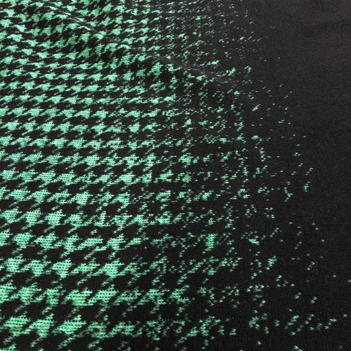 Трикотаж шерстяной черно-зеленый купон пье-де-пуль