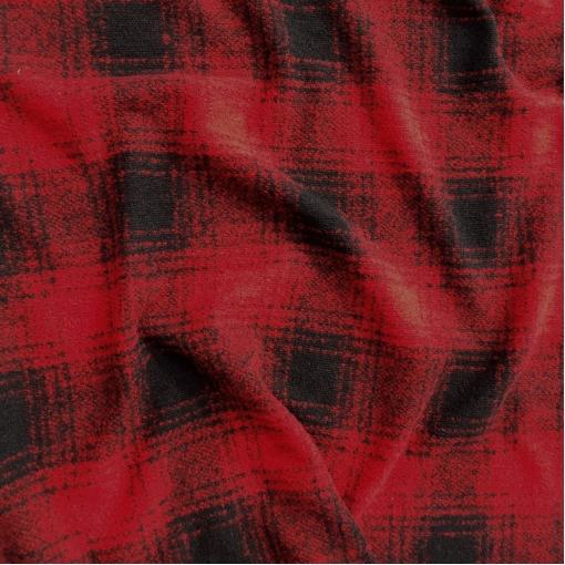 Трикотаж шерстяной мелкой вязки Burberry черно-красная клетка