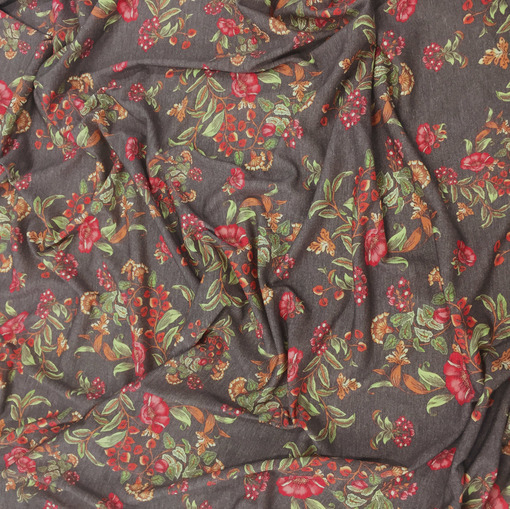 Трикотаж шерстяной с ангорой принт D&G букеты на серо-коричневом фоне