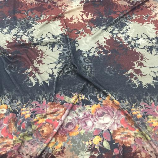 Трикотаж шерстяной с ангорой принт D&G цветочный купон