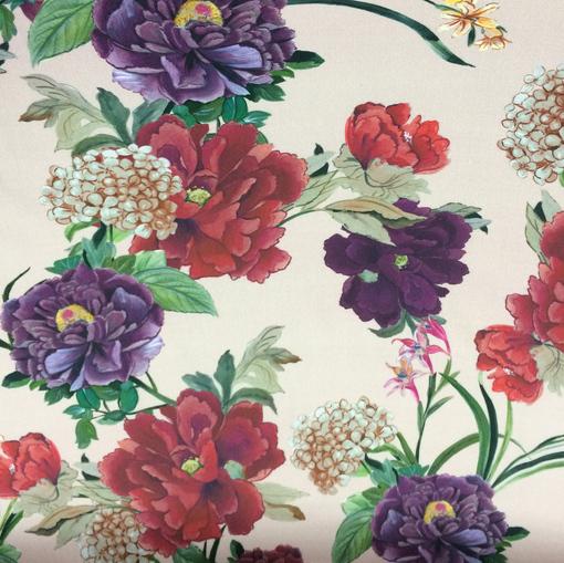 Хлопок стрейч принт Blumarine цветы на розовом фоне