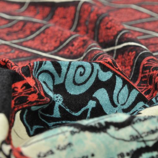 Хлопковый велюр-стрейч абстрактного дизайна