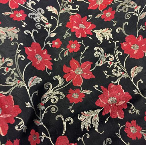Жаккард Alberta Ferretti красные цветы на черном фоне